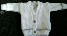 Handmade Knitted Baby cardigan 0-3 months. Colours White and Grey