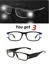 3 Pair Foster Grant Lightspecs Lighted Reading Glasses LLOYD w Case MSRP:$70
