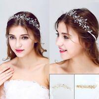Princess Crystal Headband Wedding Bridal Pearl Long Hair Chain Band Crown Tiara