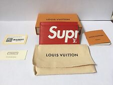 Louis Vuitton x Supreme Porte Carte Card Holder Wallet Red Epi 100% Authentic