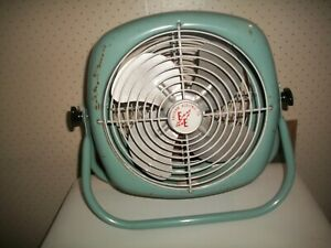 Vtg Mid Century Eastern Electric Co.Electric Tilting Fan Turquoise Blue~Works