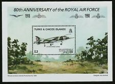 Hawker Siddeley Harrier British Royal Air Force Turks Caicos Mint Souvenir Sheet