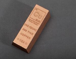 1 Pound Pure Copper Ingot Bar Bullion  .999  Ingot From The USA. U.K. Seller #L5