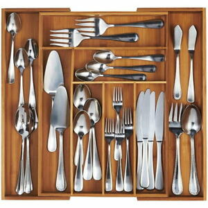 Cutlery Organiser Drawer Storage Tray Wooden Bamboo Expandable Extending UK