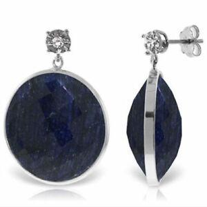 Genuine 46 ctw Sapphire Gemstones & Diamond Dangle Stud Earrings 14K. Solid Gold