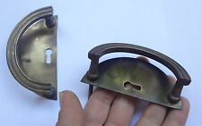 Lot 2 Vintage Brass Pull handles + Back plates Keyhole covers # Free Shipping