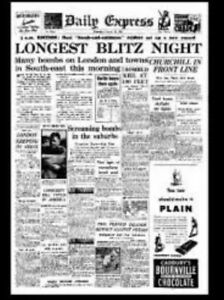 1/12th Scale Dolls House Newspaper, 'Daily Express London Blitz 29th August 1940