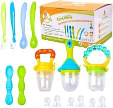 9 Pack Silicone Baby Fruit Food Feeder Pacifier Teething Set Soft Baby Spoons