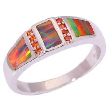 Orange Fire Opal Orange Garnet Silver Women Jewelry Gem Ring Size 6 7 8 9 OJ9118