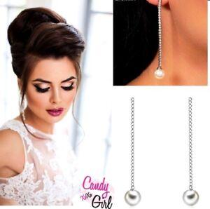 Silver Crystal Diamante Long Thin Strip Pearl Rhinestone Drop Earrings