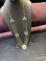 "Vintage Turquoise Enamel Rhinestone Bohemian Silver Long Statement Necklace 30""~"