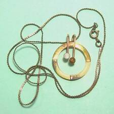"""Round pendant w tigereye & mother-of-pearl & 23"""" chain vintage B25"""