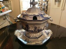 Stunning 1840s Museum Worthy Hand Painted Ironstone Punch/Nog/Soup Bowl/Tureen