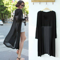 Women Summer Boho Beach Chiffon Long Cardigan Kimono Coat Tops Kaftan Maxi WE