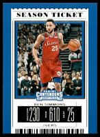 2019-20 Contenders Draft Picks Base #3 Ben Simmons - Philadelphia 76ers