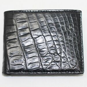 Crocodile Leather Skin Men's bifold wallet, DOUBLE SIDE Black Genuine Alligator