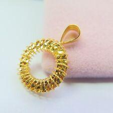 Pure Au750 18k Yellow Gold Women Beautiful Great Circle Fashion Pendant 1-1.3g