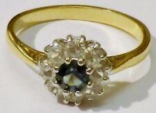 bague fiançailles bijou vintage plaqué or cristaux diamant bleu saphir T 59