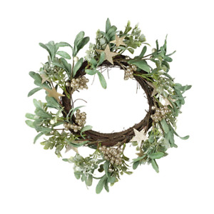 Christmas Wreath Decoration Faux Mistletoe Foliage Branches Gold Stars NEW