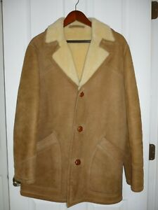 Sawyer of Napa Sheepskin Men's Beige Coat Jacket Shearling great condition SZ 40