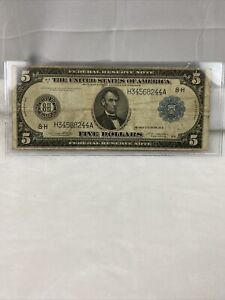1914 $5 Large Size Federal Reserve Note- ST.LOUIS Fine
