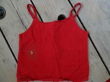 Débardeur rouge en coton et lin brodé fleurs et strass Taille 4 ans