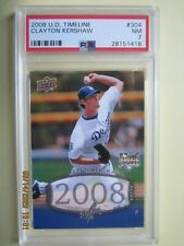 Clayton Kershaw 2008 Upper Deck UDC Timeline Silver Ink #304 RC Rookie PSA 7 NM