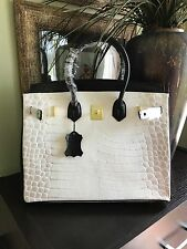 ADORABLE BLACK AND WHITE ALLIGATOR PRINT 35CM BIRKIN INSPIRED BAG TOTE PURSE