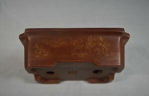 Antique Yixing zisha bonsai pot landscape engraviing signed high grade 1950s kk