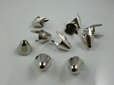 11mm Tall UK77 Silver British Metal Punk Cone Studs Spots Nailheads Well Polish