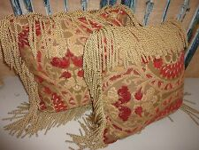 """DECORATIVE RUST GOLD CHENILLE PAISLEY FLORAL LONG FRINGES (2) THROW PILLOWS 14"""""""