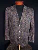 VINTAGE LATE 1950'S EARLY 1960'S DARK BATIK PRINTED COTTON SPORT COAT SIZE 40