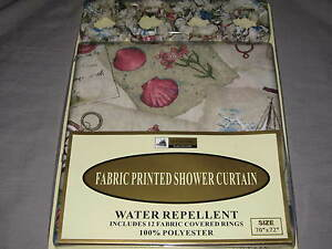 Elegant Beige Fabric Printed Shower Curtain Rings Floral Bathtub Shells NEW!