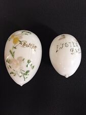 2 Vintage Antique Milk Glass Eggs Hand Blown Easter