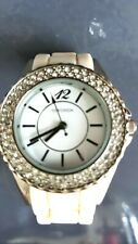 SEKONDA LADIES WATCH WITH SILVER TRIM & CRYSTALS WITH SILICONE STRAP