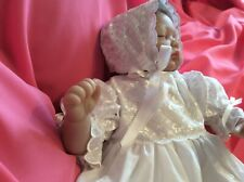 Hand made Embroderie Anglais CHRISTENING GOWN & BONNET  age 3 months New.