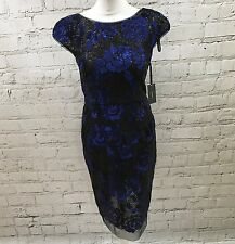 NEW VERA WANG Blue Black Sequin Fitted Pencil Dress Evening SIZE UK 6 8 12054