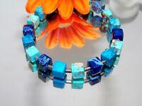 Armband Schmuck,- Edelstein Würfel Jaspis dunkelblau hellblau türkis silber 213d