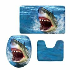 Blue Animal Shark Bath Mat Toilet Covers 3pcs Set Bathroom Carpet Non-Slip Rugs
