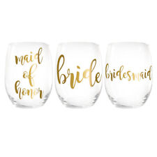 Custom Name / Personalized Bridesmaid Stemless Wine Glass (6)  Free Shipping