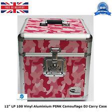 "2 X NEO Aluminum PINK Camouflage Flight DJ Carry Case for 100LP Vinyl 12"" Record"