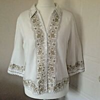 Per Una White Beige Linen Cotton Mix 3/4 Sleeve Embroidered Blouse Top Size 14