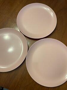 "Vintage Sun Valley Melmac Melamine 9.5"" Dinner Plates Lot 3 Pink"
