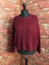 MARKS AND SPENCER Ladies Burgundy Chunky Knit Jumper Size 20