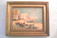 "A. KAZARIAN Seacoast Oil Painting with BOATS Circa 1960 13"" X16"" Framed"