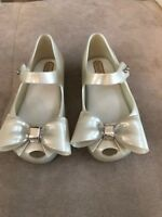 New Girl Mel Melissa Rubber Flats Shoes Size 8 Pearl White With Bow