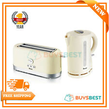 Swan Cordless Design 1.7L Jug Kettle & 4 Slice Long Slot Toaster Set In Cream