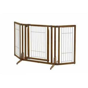 Richell USA 94193 Premium Plus Freestanding Pet Gate with Door - Brown