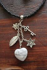 Awesome Handmade Black Wooden Bead & Silver Leaf & HeartHowlite Pendant Necklace
