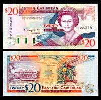 EAST CARIBBEAN 20 DOLLARS ND 1994 P 33 L ST.LUCIA QE II UNC